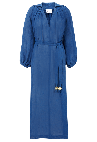 POET MOROCCAN BLUE GAUZE DRESS