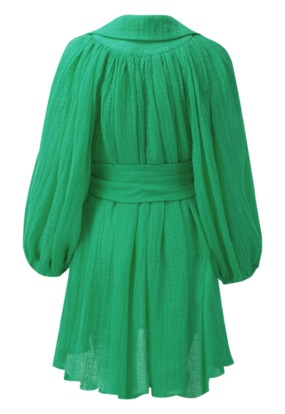 POET GREEN GAUZE MINI DRESS