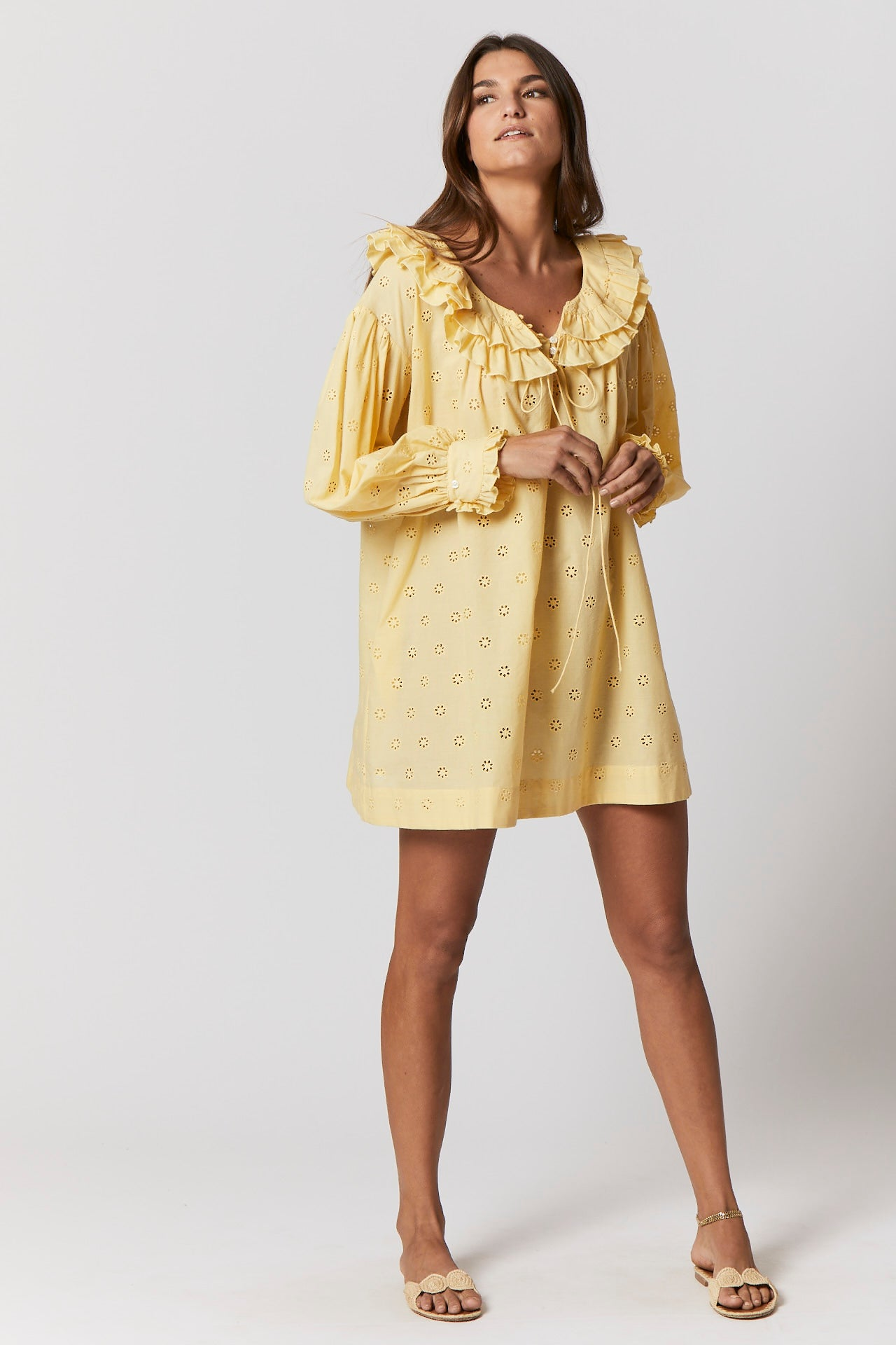 YELLOW FLORAL EYELET POET TUNIC (PRE-ORDER)