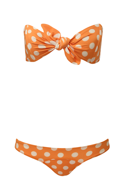 POPPY ORANGE POLKA DOT CREPE BIKINI