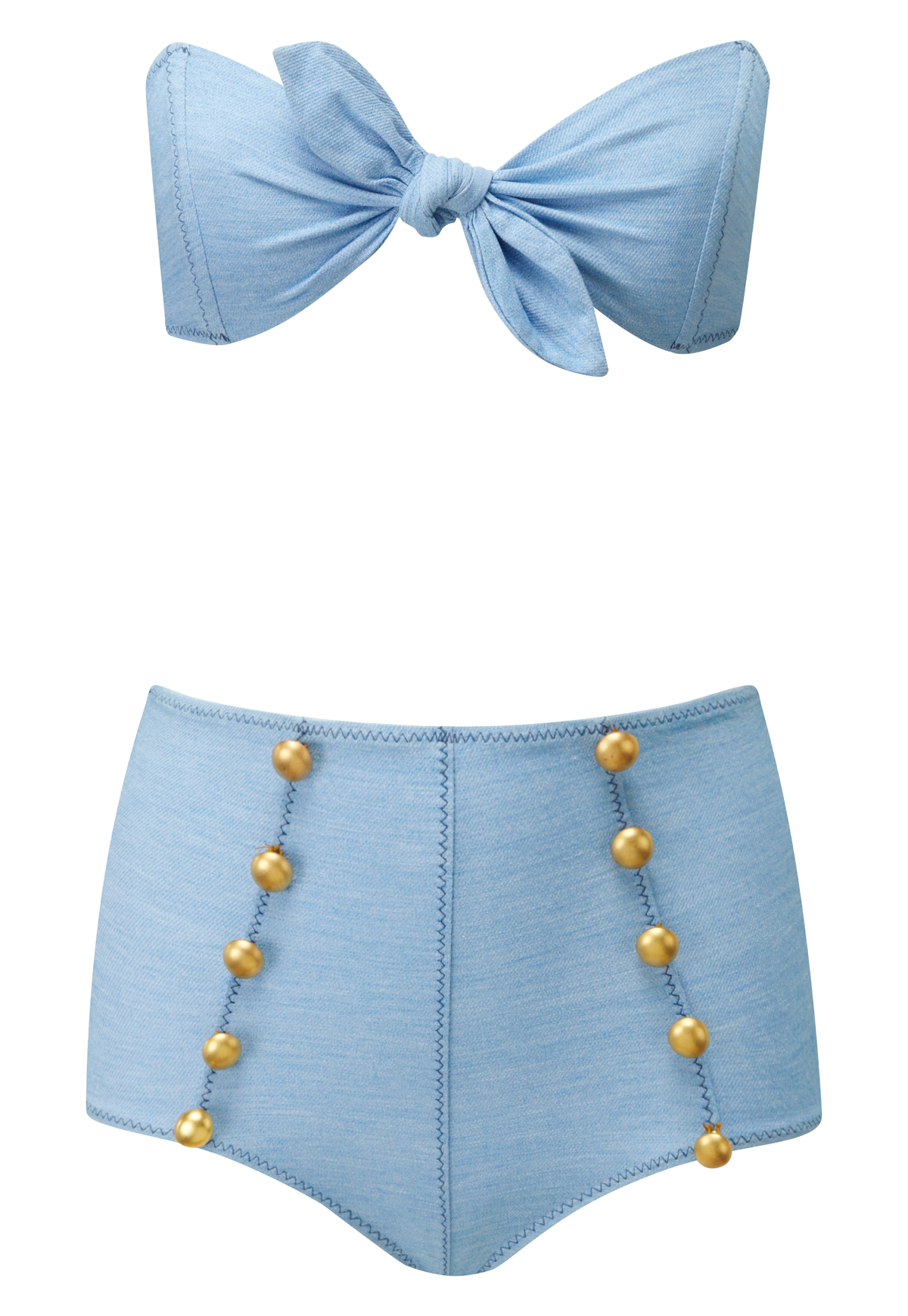 POPPY FADED DENIM HIGH-WAIST BUTTON BIKINI