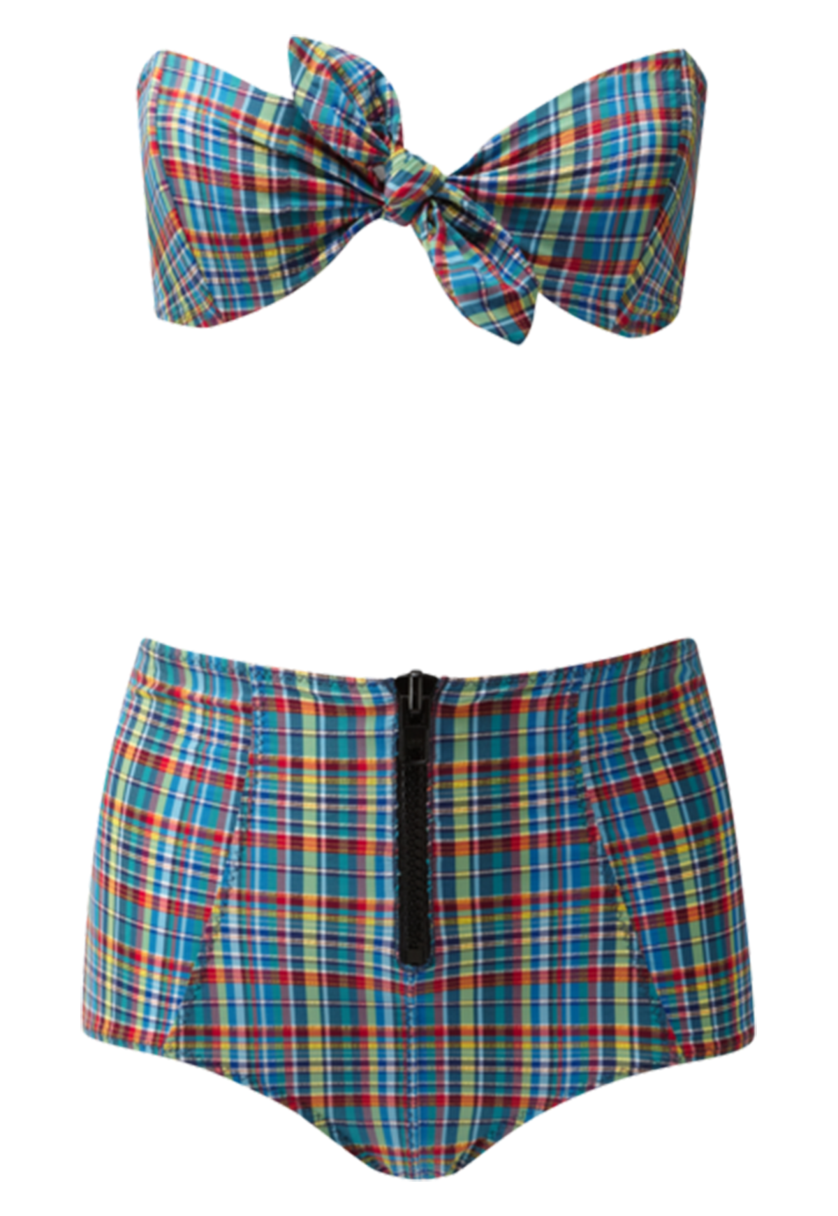 POPPY PLAID ZIP HIGH WAIST BIKINI