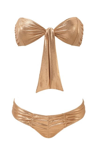 POPPY ROSE GOLD RUCHED BIKINI
