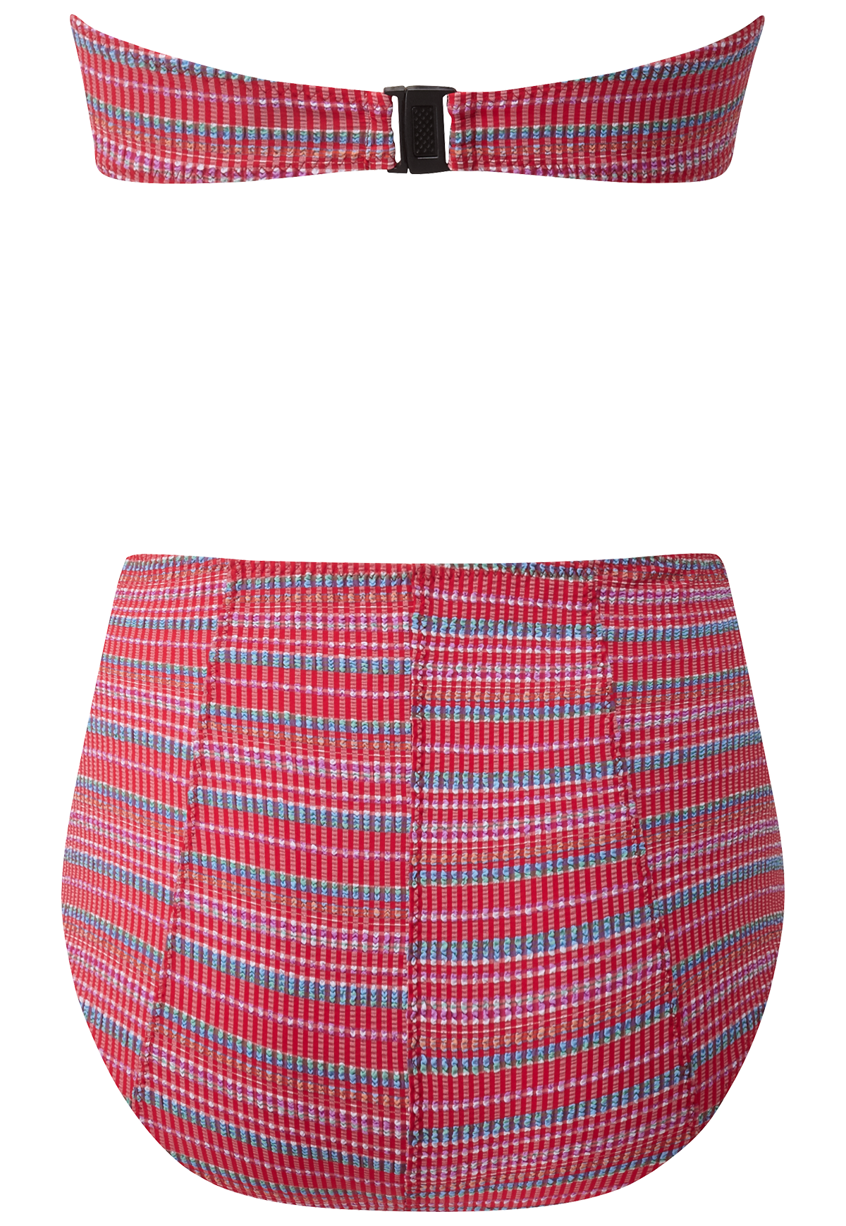 POPPY RED STRIPED SEERSUCKER ZIP HIGH-WAIST BIKINI