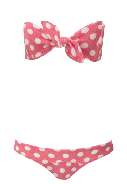 POPPY PINK POLKA DOT TERRY BIKNI