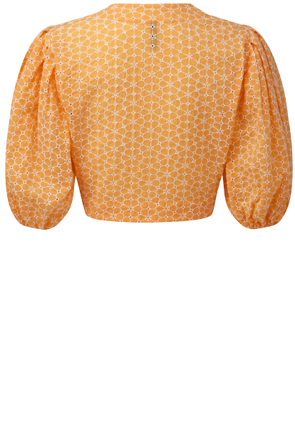 DAISY EYELET TANGERINE AND WHITE POUF BLOUSE