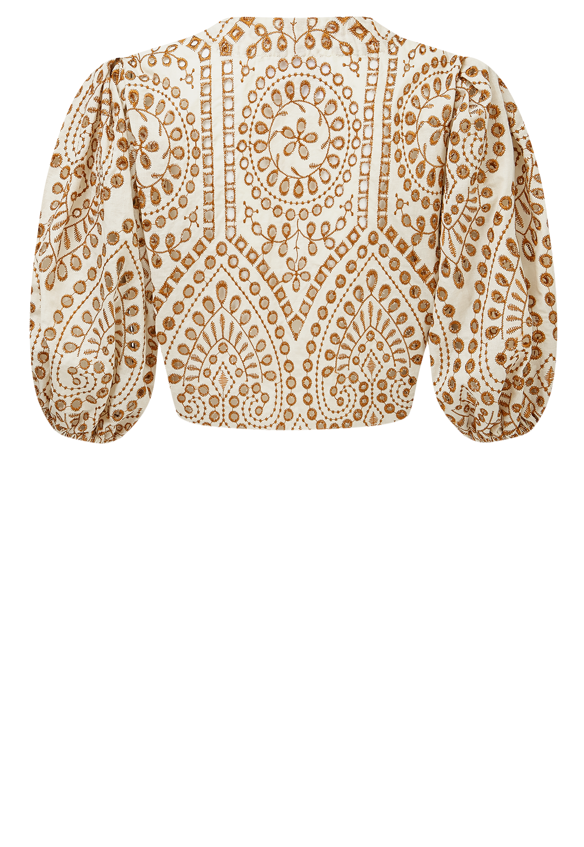 NATURAL AND TERRACOTTA EYELET POUF BLOUSE
