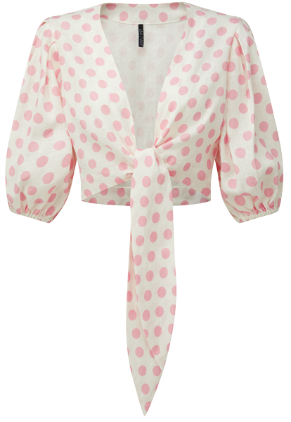 PINK POLKA DOT POUF SLEEVE BLOUSE