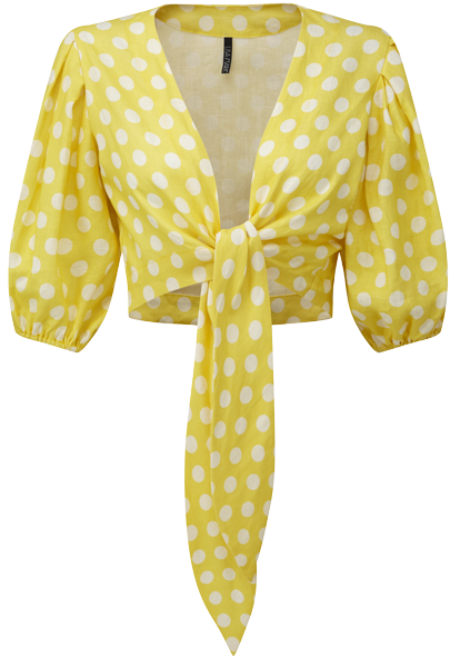 YELLOW POLKA DOT POUF SLEEVE BLOUSE