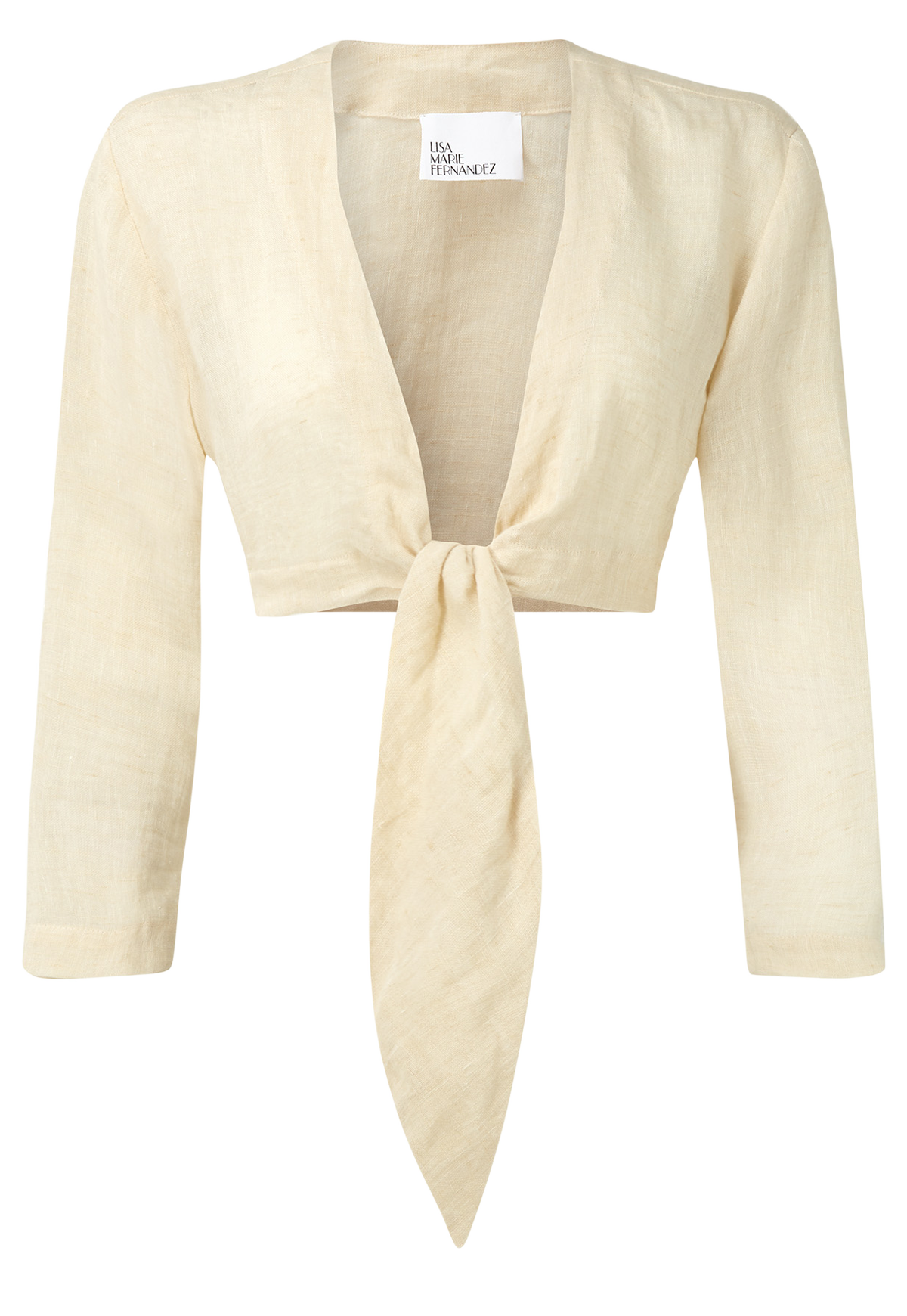 NATURAL LINEN TIE BLOUSE