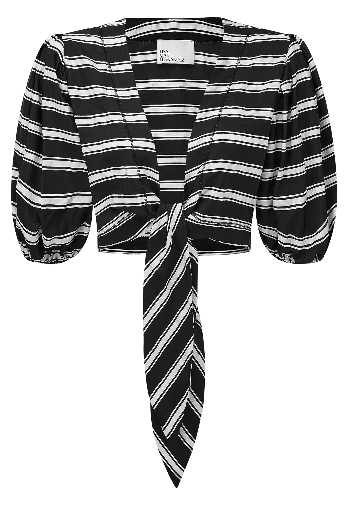 BLACK AND WHITE STRIPED POUF BLOUSE