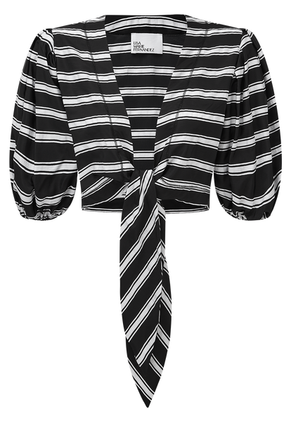 BLACK/WHITE STRIPED TIE BLOUSE