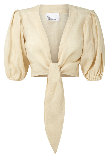 NATURAL LINEN POUF TIE BLOUSE