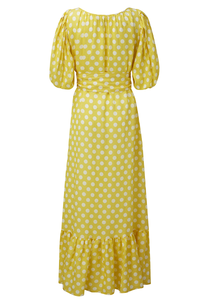 POLKA DOT YELLOW AND WHITE LINEN PRAIRIE DRESS