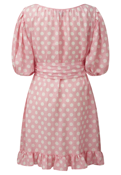 PINK POLKA DOT LINEN PRAIRIE DRESS
