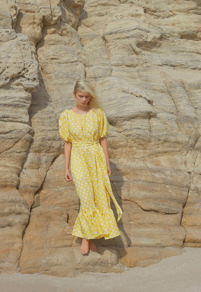 PRAIRIE POLKA DOT YELLOW LINEN DRESS
