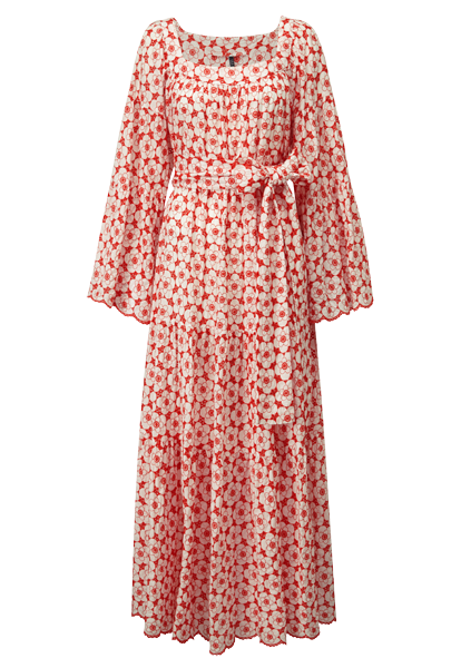 PEASANT TOMATO EYELET POPPY DRESS
