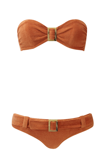 BUCKLE BANDEAU BELTED TERRACOTTA TERRY CLOTH BIKINI
