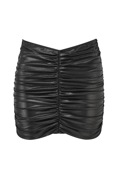 BLACK METALLIC RUCHED SKIRT