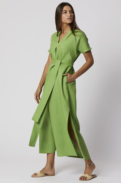 ROSETTA GREEN LINEN CAFTAN DRESS