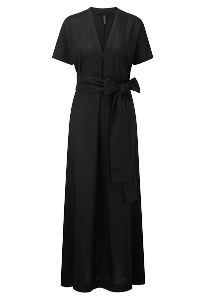 ROSETTA BLACK LINEN CAFTAN (AVAILABLE FOR PRE-ORDER NOW)