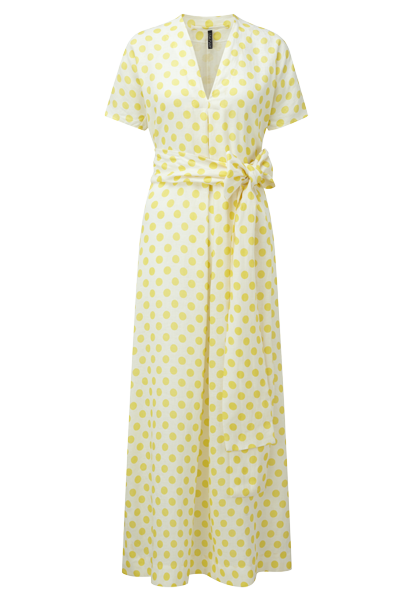 ROSETTA YELLOW POLKA DOT LINEN CAFTAN DRESS