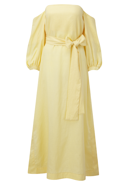 ROSIE PALE YELLOW LINEN DRESS
