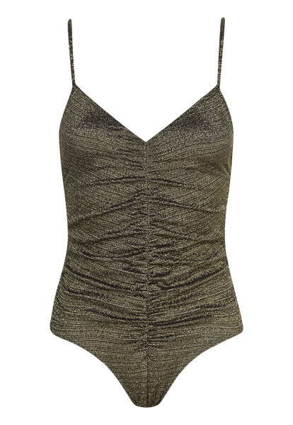 RUCHED CAMISOLE GOLD/BLACK LUREX MAILLOT