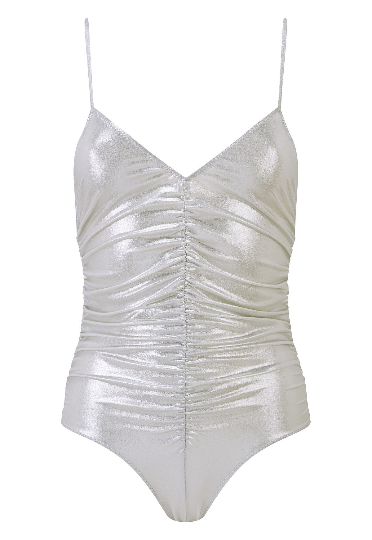 RUCHED SILVER METALLIC CAMISOLE MAILLOT