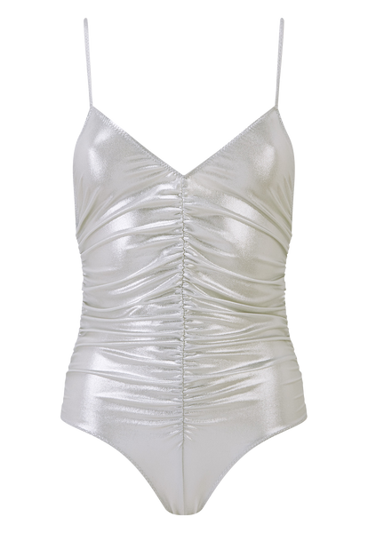 SILVER METALLIC CAMISOLE RUCHED MAILLOT
