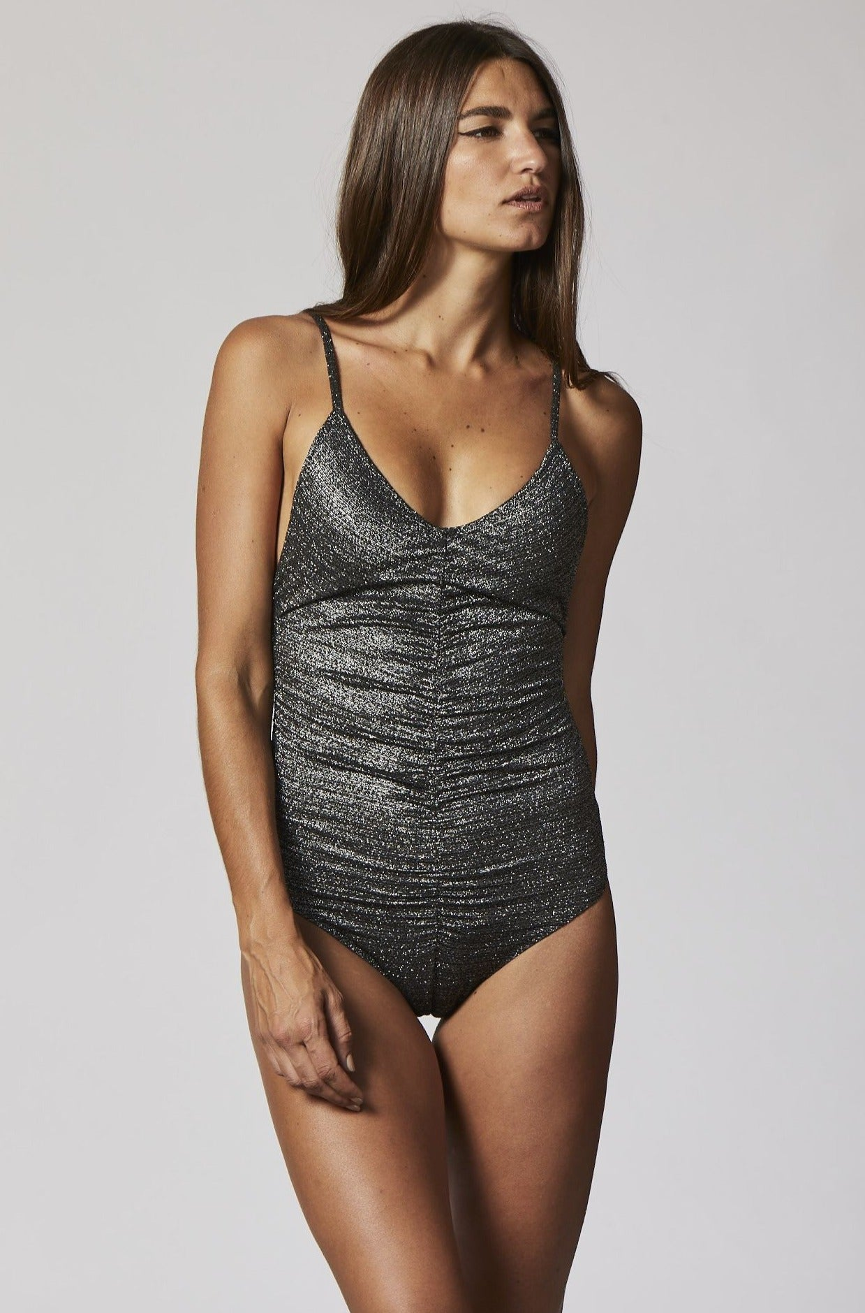 ROUCHED CAMISOLE SILVER/BLACK LUREX MAILLOT