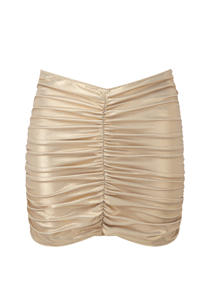 GOLD METALLIC RUCHED SKIRT