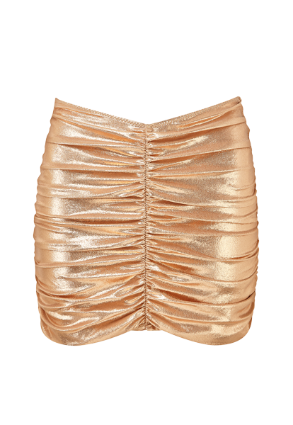 ROSE GOLD METALLIC RUCHED SKIRT