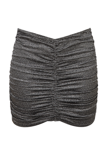 RUCHED SILVER/BLACK LUREX SKIRT