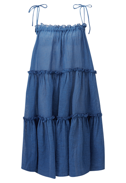 MOROCCAN BLUE GAUZE RUFFLE PEASANT DRESS