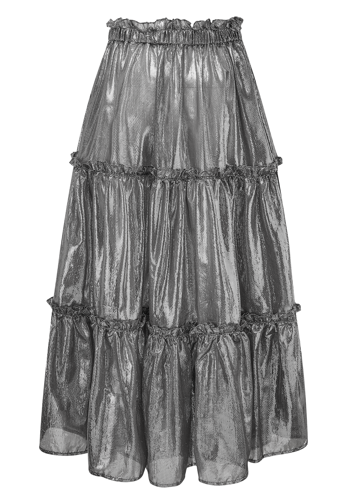 BLACK METALLIC RUFFLE PEASANT SKIRT