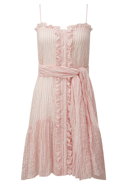 PINK STRIPED CRINKLE SLIP DRESS