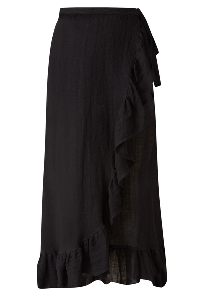 BLACK GAUZE RUFFLE WRAP SKIRT