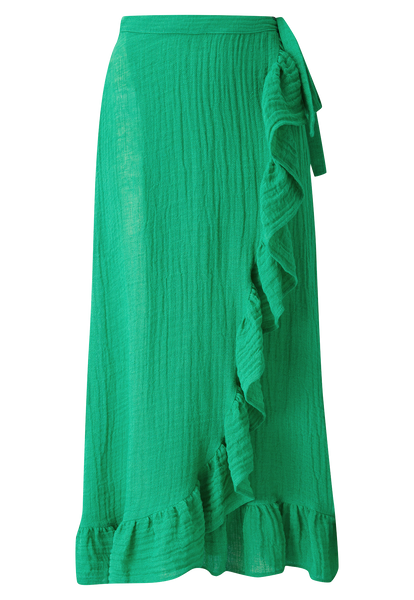 GREEN GAUZE RUFFLE WRAP SKIRT
