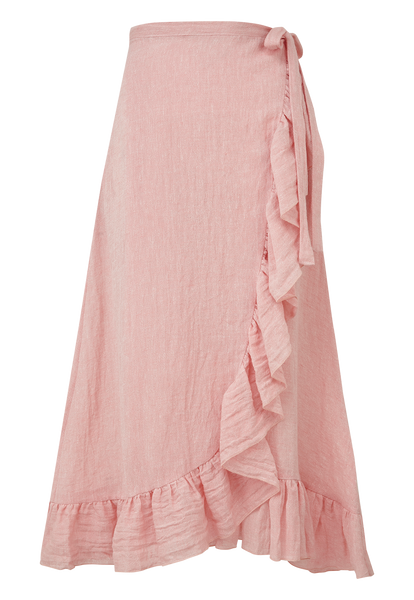PINK METALLIC GAUZE RUFFLE WRAP SKIRT