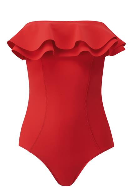 SABINE TOMATO BONDED DOUBLE RUFFLE MAILLOT