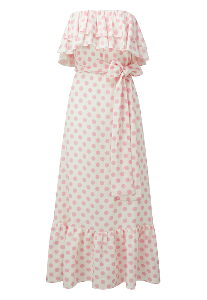 SABINE PINK POLKA DOT LINEN DRESS