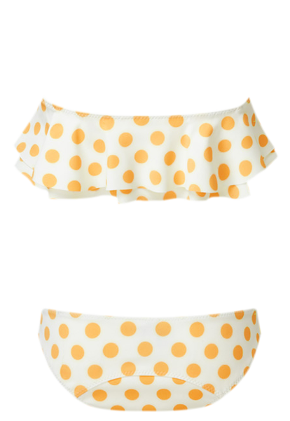 SABINE POLKA DOT ORANGE/WHITE BONDED BIKINI