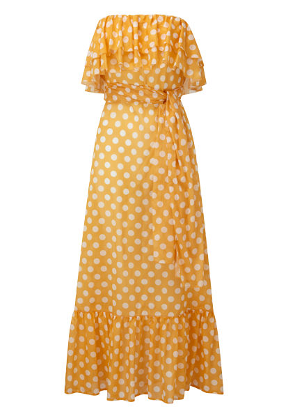 SABINE ORANGE POLKA DOT DRESS
