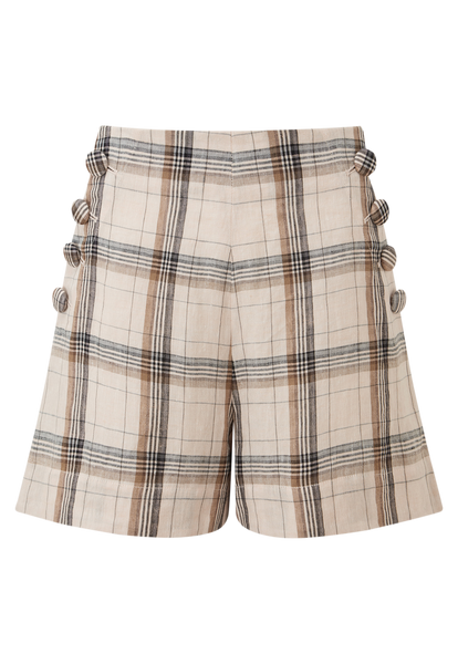 SAILOR PEACH MADRAS LINEN SHORT