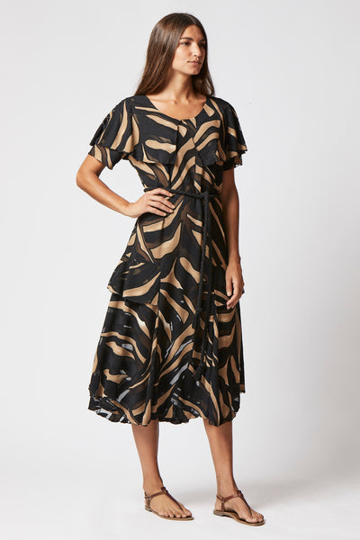 SANJA ZEBRA DEVORE DRESS
