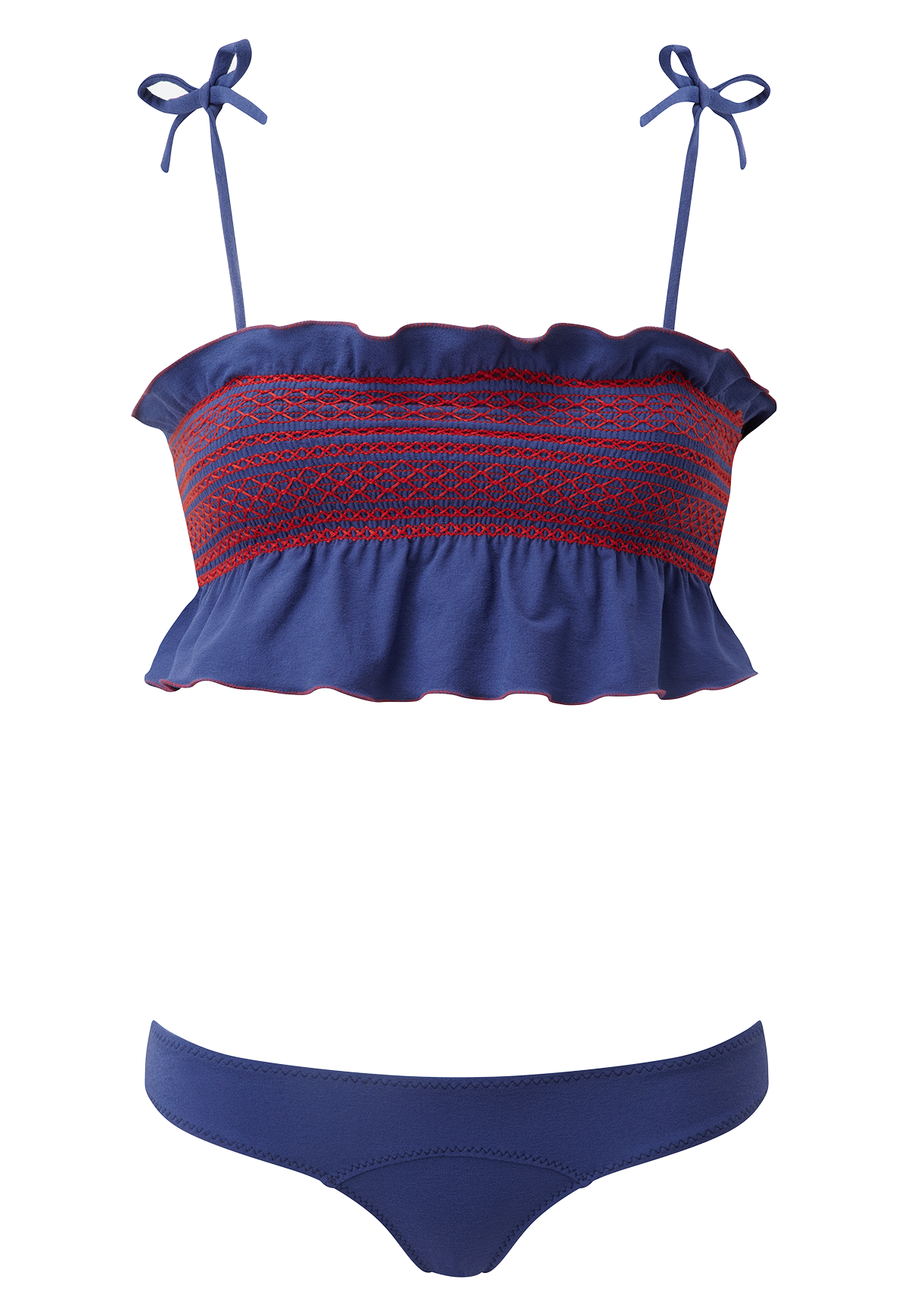 SELENA SMOCKED FADED NAVY BIKINI