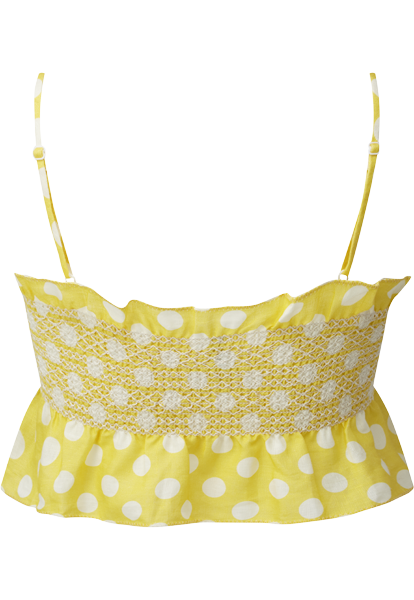 SELENA SMOCKED YELLOW LINEN TOP