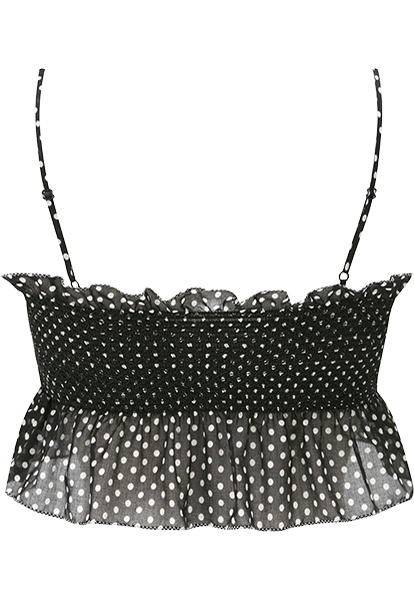 SELENA SMOCKED POLKA DOT CAMISOLE TOP