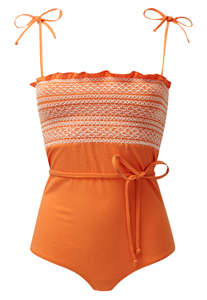 SELENA SMOCKED ORANGE MAILLOT
